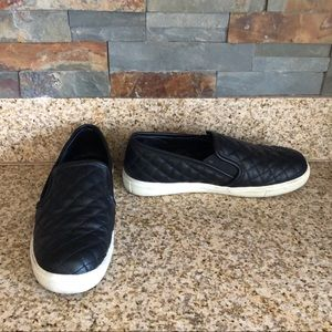 Black Quilted Slip On Shoes